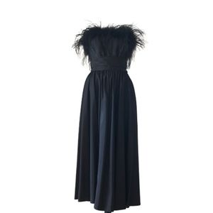 Vintage Black Ostrich Feather Taffeta Party Dress